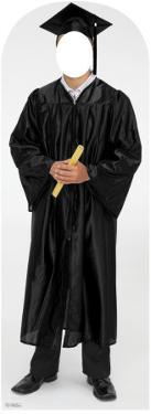 Male Graduate Black Cap & Gown