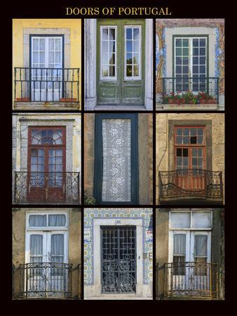 A poster featuring nine different doors of interest shot through Portugal.