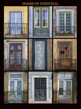 A poster featuring nine different doors of interest shot through Portugal. by Mallorie Ostrowitz