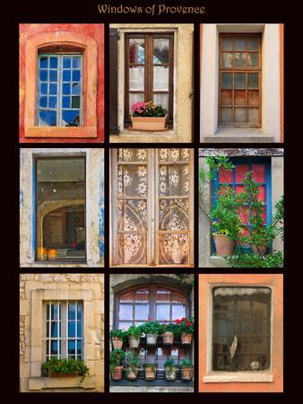 Poster featuring windows shot on buildings throughout towns of Provence, France.