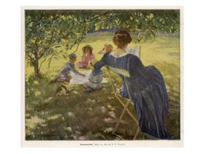 Mama Sits Reading Her Book While the Children and Dog Play at a Tea-Party on the Lawn