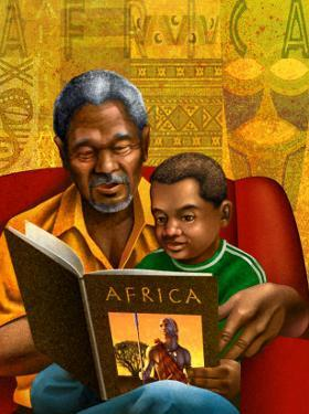 Man and Boy Reading Book About Africa