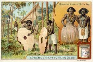 Man and Woman from the Island of Yap, and Stomes Used as Money, Caroline Islands