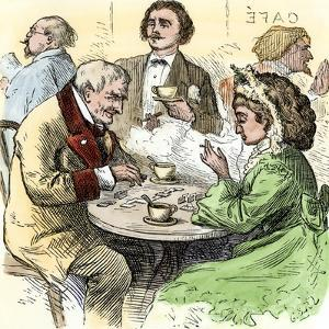 Man and Woman Playing Dominoes in a Cafe, 1800s