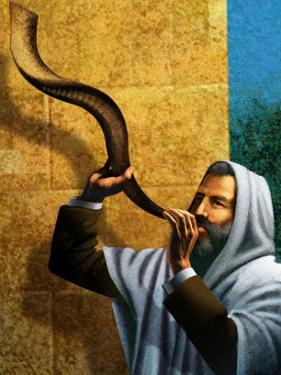 Man Blowing Shofar for Rosh Hashanah
