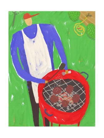 Man Grilling Hamburgers on Red Grill Outside