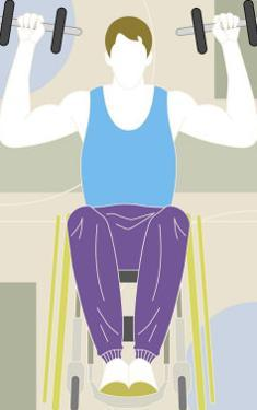 Man in a Wheelchair Working out with Hand Weights