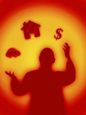 Man Juggling House, Money, Car