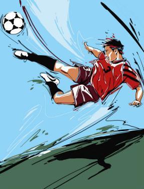 Man Kicking a Soccer Ball