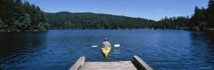 Man on a Kayak in a River, Orcas Island, Washington State, USA