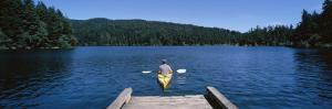 Man on a Kayak in a River, Orcas Island, Washington State, USA