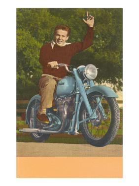 Man on Motorcycle, Waving