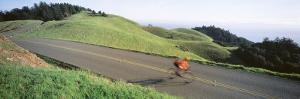 Man Riding a Bicycle, Bolinas Ridge, Marin County, California, USA
