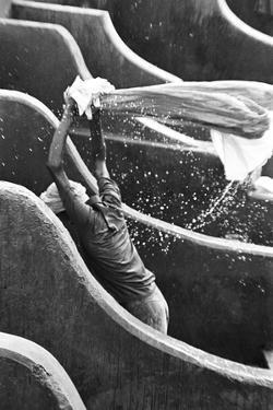Man Washing Clothes at Dhobi Ghat, Banganga, Mumbai, Maharashtra, India, 1972