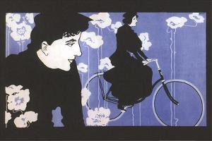 Man Watching Woman on Bike