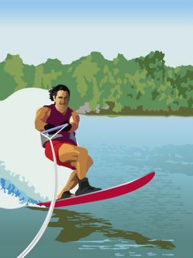 Man Waterskiing