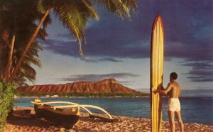 Man with Surfboard at Diamond Head