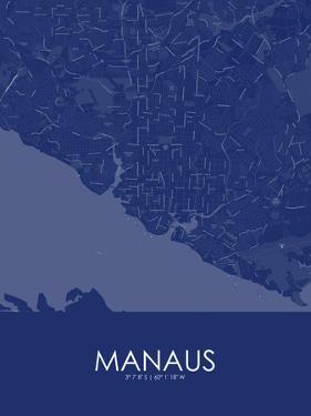 Manaus, Brazil Blue Map