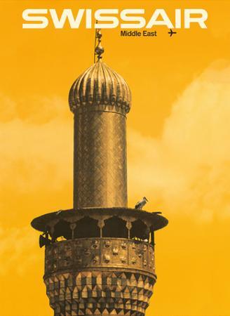 Middle East - Mosque Minaret - Swissair by Manfred Bingler