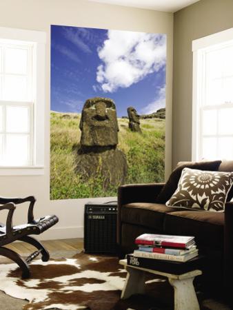 Moai Heads on Inner Crater Slopes of Rano Raraku