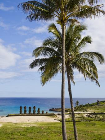 Moais with Headknots at Ahu Nau Nau, Anakena Beach