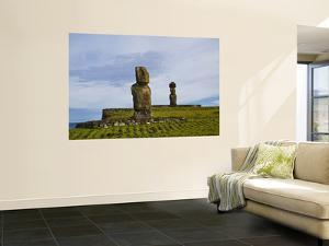 Solitary Moai of Ahu Tahi and Topknot Moai of Ahu Kote Riku in Background by Manfred Gottschalk