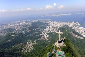 Aerial View Of Christ Redeemer And Corcovado Mountain In Rio De Janeiro by mangostock
