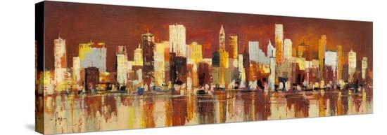 Manhattan al tramonto-Luigi Florio-Stretched Canvas Print