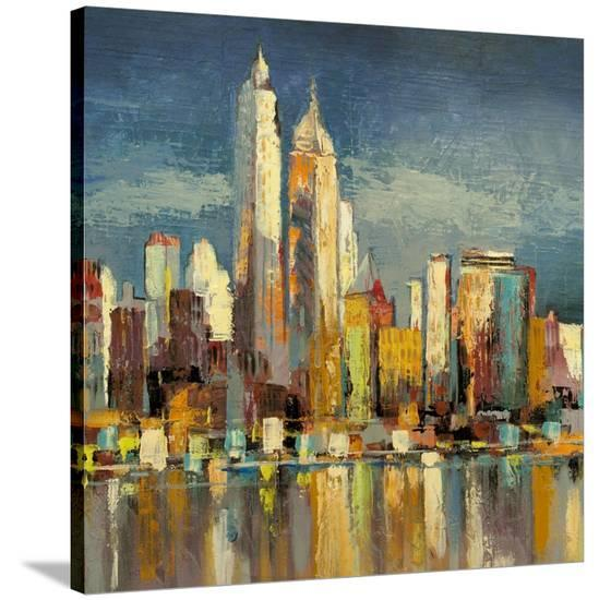 Manhattan Aqua (detail)-Luigi Florio-Stretched Canvas Print