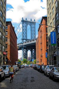 Manhattan Bridge DUMBO Brooklyn Cobblestone Street Photo Poster