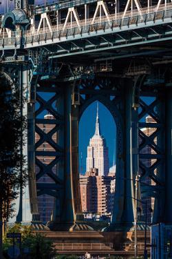 Manhattan Bridge frames Empire State Building, NY NY