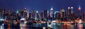 Manhattan Skyline Panorama at Night over Hudson River
