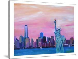 Manhattan Skyline With Downtown Skyline And Statue Of Liberty by M Bleichner