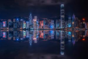 Hong Kong Reflection Cityscape by Manjik Photography