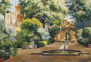 A Garden in Seville by Manuel Garcia Y Rodriguez