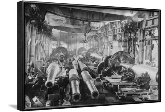 Manufacturing Floor for Large Naval Guns--Framed Art Print