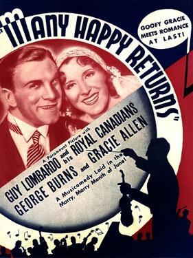 MANY HAPPY RETURNS, US ad art, from left: George Burns, Gracie Allen, Guy Lombardo, 1934