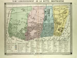 Map of 18th Arrondissement De La Butte-Montmartre Paris France