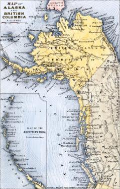 Map of Alaska, the Aleutian Islands, and British Columbia, 1872
