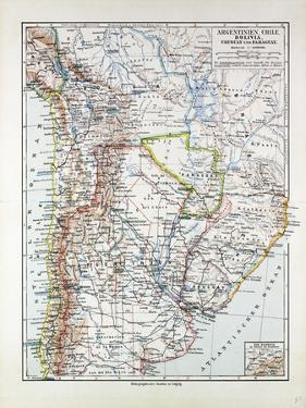 Map of Argentinia Chile Bolivia Uruguay and Paraguay 1899