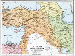 Map of Asia Minor and the Caucasus Region and Mesopotamia at the Beginning of the First World War