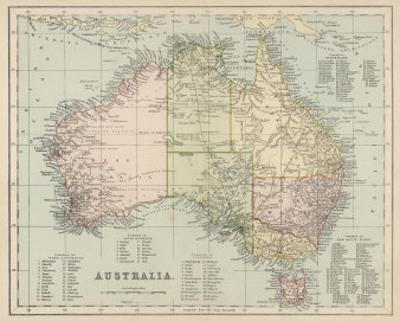 Map of Australia with Names of Counties