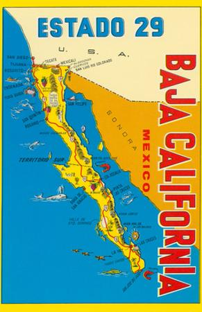 Map of Baja California, Mexico