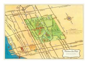 Map of Balboa Park and San Diego, California