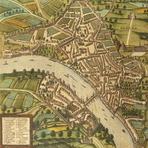 Map of Basel, Switzerland, from Civitates Orbis Terrarum