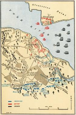 Map of Battle of Yorktown where the British Army Was Defeated by the American and French, c.1781