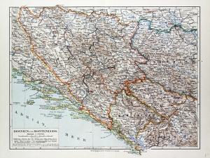 Map of Bosnia and Herzegovina Montenegro Serbia 1899