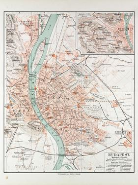 Map of Budapest Hungary 1899
