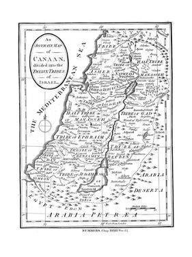 Map of Canaan Divided into the Twelve Tribes of Israel, C1830