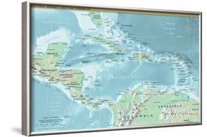 Map of Central America and the Caribbean (Political) Art Poster Print